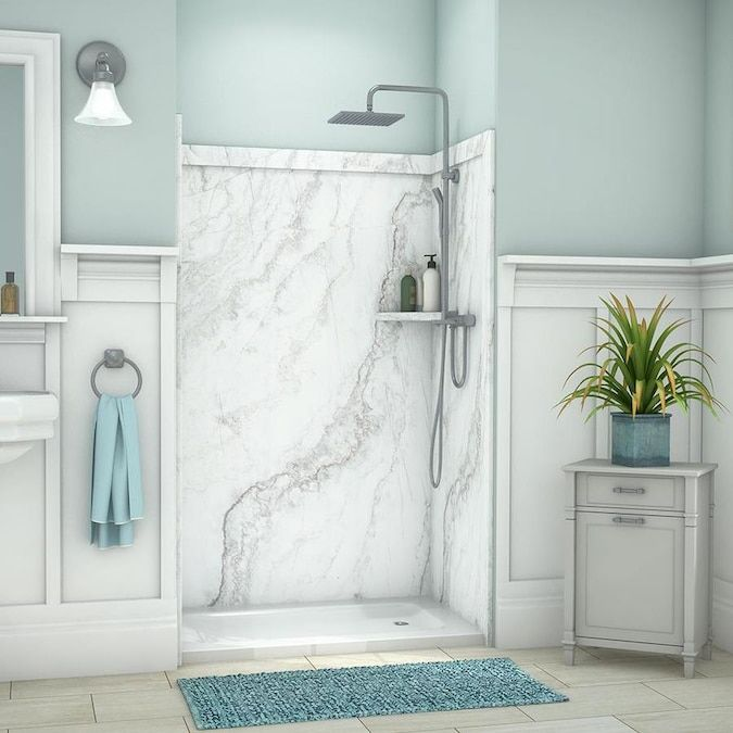Flexstone Elegance 3 Calypso Panel Kit Shower Wall Surround Common 48 In X 36 In Actual 48 In X 36 In Lowes Com In 2020 Shower Wall Shower Walls Surrounds Bathroom Inspiration Decor