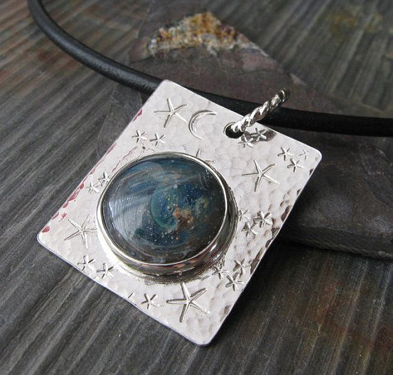 Memorial necklace pendant.  Artisan glass & ashes. Sterling silver,  leather.  Boro cabochon. For pets or loved ones. Dog cat human.