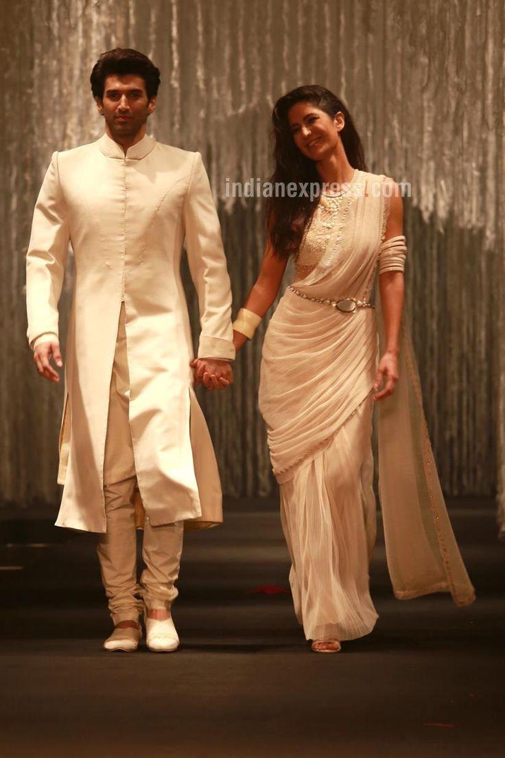 Katrina Kaif and Aditya Roy Kapur walking on the ramp for designer Tarun Tahiliani's spring-summer 2016 line. #Bollywood #Fashion #Style #Beauty #Hot #Sexy #Desi #Saree