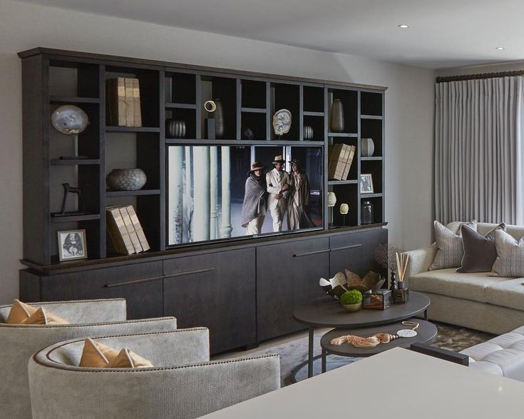 Freestanding bespoke TV unit we designed for the show apartment project in the city that we completed this year