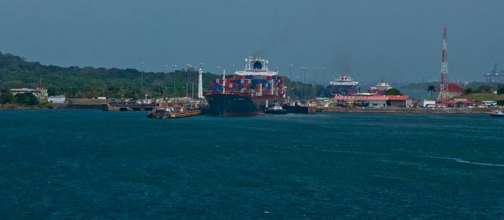 Cargo Ship entering Lake Gatun, Panama Canal