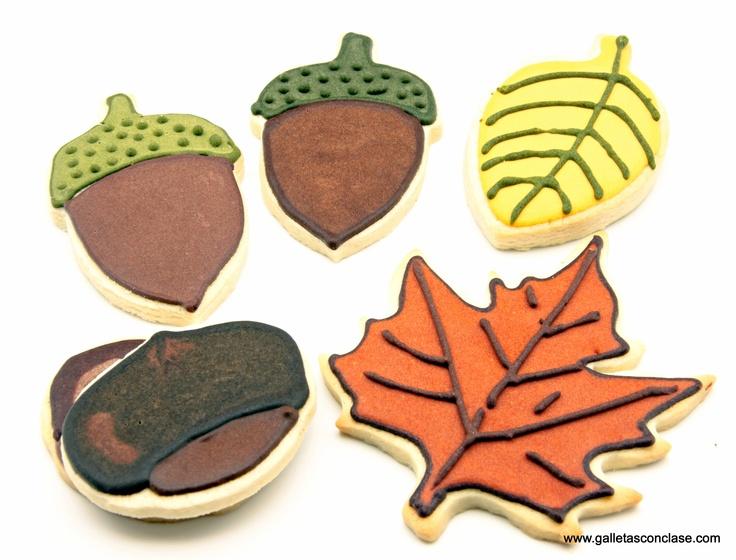 Galletas de otoño, con motivos de la temporada.