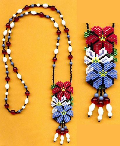 #beadwork  Clematis Flower Beaded Necklace