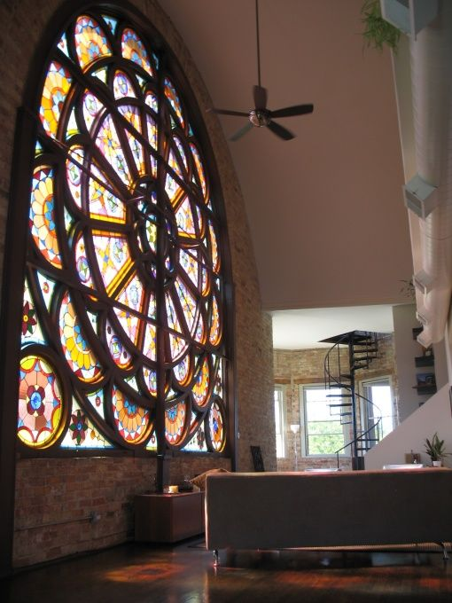 1880s Renovated Church Loft in Chicago: Chicago Church, Convertible Church, Church Loft, Chicago Loft, Glasses Window, 1880S Renovation, Church House, Stained Glasses, Renovation Church