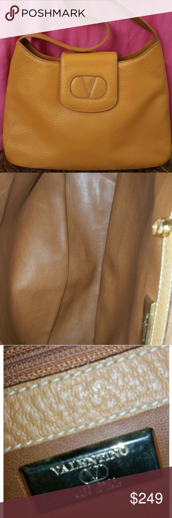 Authentic Valentino shoulder bag. It's authentic  brown leather bag, made in Italy, zipper works properly, minor stain outside and bottom, but unnoticeable.minor rub on shoulder strap. You can use as casual or formal. Valentino Bags Shoulder Bags