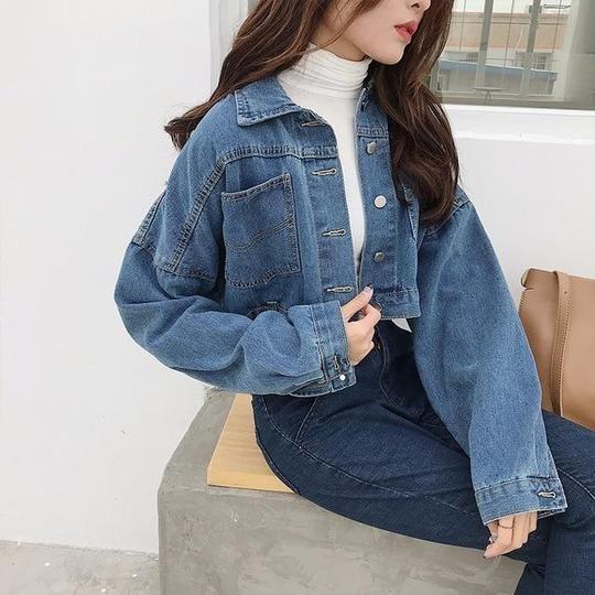 35db6bbdb 2018 Women Basic Short Denim Jacket Girls Coat Jeans Jackets Ladies ...