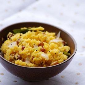 Corn Rava Upma - Indian Breakfast recipe made with cornmeal.