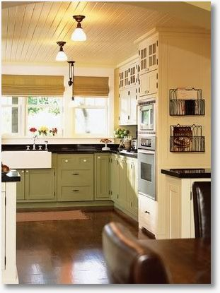 Love the ceiling, open cabinets at the top, and the 'hidden dishwasher!' DIY projects galore :)