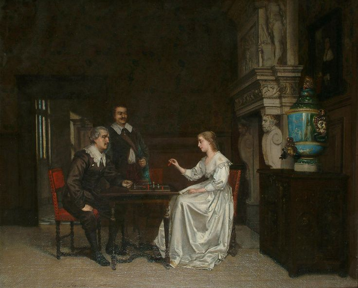 Franciscus Leonardus Johannes Moormans - A game of chess in a luxurious interior