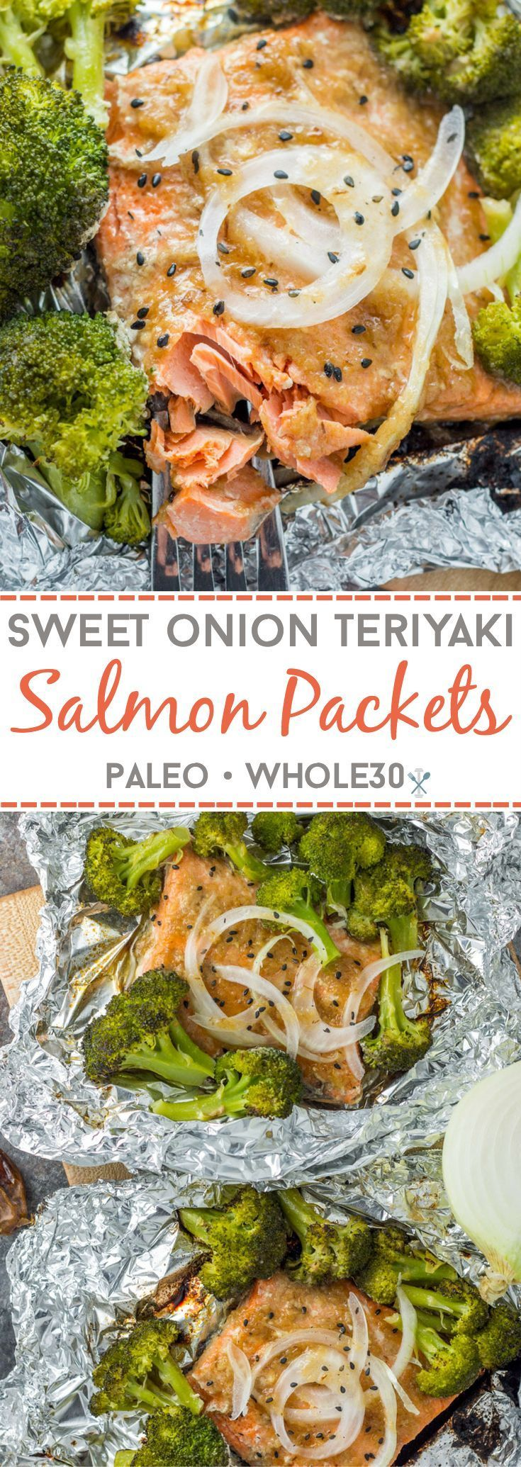 This whole30 compliant, paleo salmon dinner can be made in the oven or on the grill! Sweet onion teriyaki marinated salmon with roasted broccoli for a simple dinner in foil!