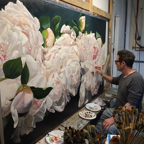 Thomas Darnell's photo. Latest, nearly finished Peonies 114 x 195 cm by Thomas Darnell #painting #oilpaintings #fineart