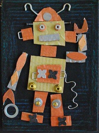 Van karton, schroefjes en kosteloos materiaal een robot knutselen.