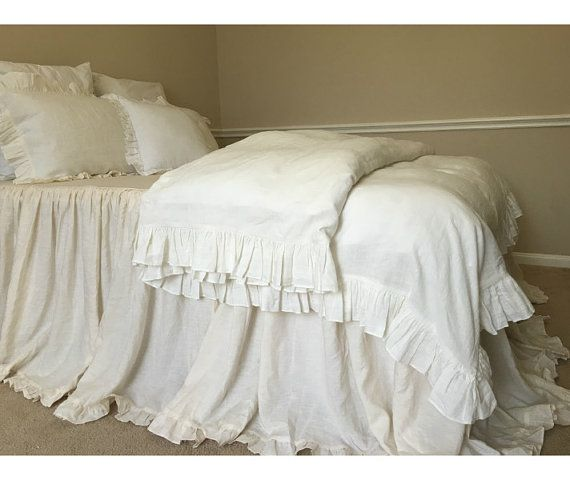 Soft White Ruffle Duvet Cover Ruffle Bedding Shabby Chic Duvet