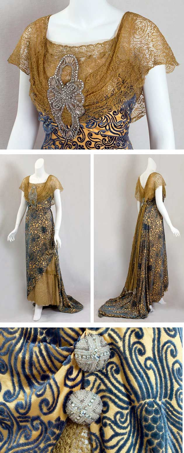 Evening dress trimmed with metallic lace, Devoré, ca.1910. Wedgewood blue velvet cut to a gold satin ground. Metallic gold lace on bodice and underskirt. Rhinestone and crystal beaded appliqués on the front and back bodice and train. Vintage Textile