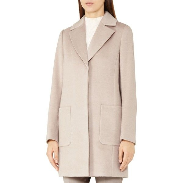 Reiss Harmony Wool Coat ($575) ❤ liked on Polyvore featuring outerwear, coats, parchment, pink coat, wool coat, reiss coat, woolen coat and reiss