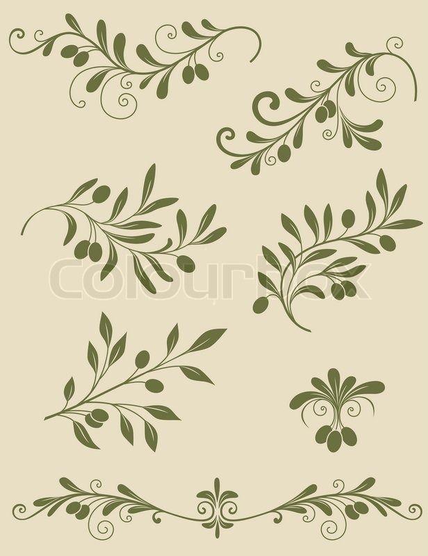 Decorative olive branch   Vector   Colourbox on Colourbox