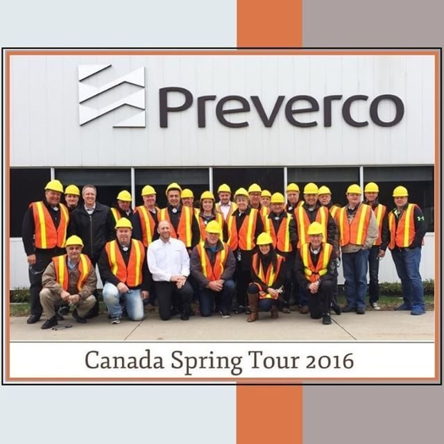 Preverco | GQ Flooring  A few of our sales team members at the Preverco Mill Tour last week. © Preverco  http://www.preverco.com/en  #Preverco #GQFlooring #Flooring #Yaletown #Vancouver #Coquitlam #yellowhats #hardwoodfloors