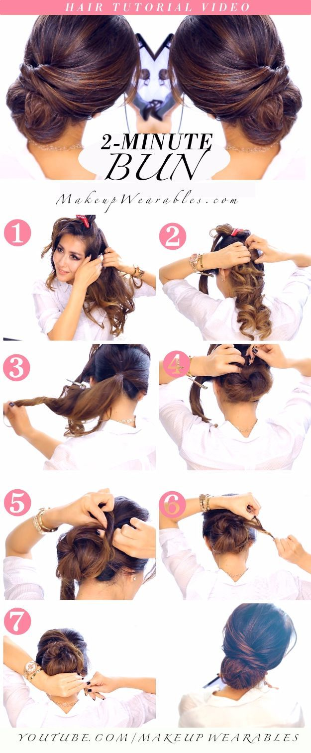 Quick and Easy Updo Hairstyles - 2-MINUTE ELEGANT BUN HAIRSTYLE TOTALLY EASY HAIR TUTORIAL - Hair Hacks And Popular Haircuts For The Lazy Girl. Hairdos and Up Dos Including The Half Up, Chignons, Twists, Beauty Tips, and DIY Tutorial Videos For Bangs, Products, Curls, The Top Knot, Coiffures, and Shoulder Length Hair - https://www.thegoddess.com/quick-easy-updo-hairstyles #BunHairstylesLazy