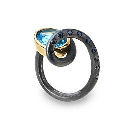 G.Kabirski | silver, gold and black rhodium plated, blue topaz, sapphire ring