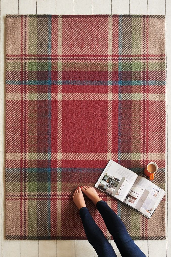 Next Morcott Check Rug Red Rugs