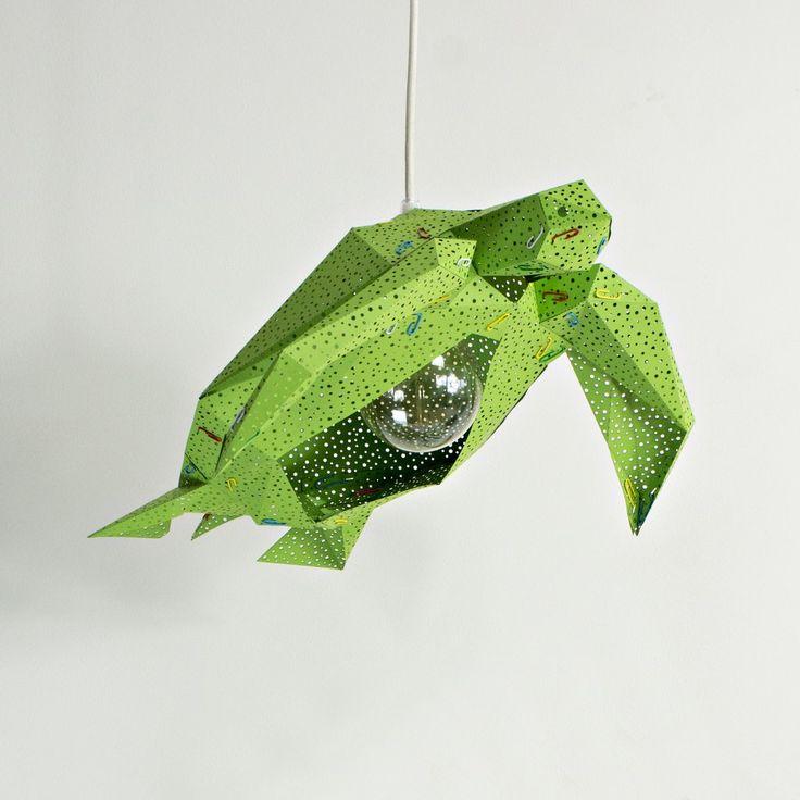Sea Turtle Light Shade Grass Green - STUDIO POP OBJECT #studiopopobject #popobject #animallamp #seaturtle #turtle #origami #lamp #light #paper #paperlamp #handmade #madeofpaper  #lampdesign #lampshade #pendantlamp #lightingdesign #homedecor #minimaldesign #creativeminds #minimalistic #minimal #minimallove #interiordesign #nordicinspiration #scandinavianstyle #nordicdesign #childrenroom #kidsroom #kids #nurserydecor #nurserylamp