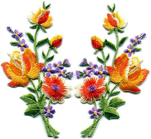 Orange roses pair flowers floral bouquet boho embroidered appliques iron-ons patches new TKPatch http://www.amazon.com/dp/B00RVKFL92/ref=cm_sw_r_pi_dp_gPSbxb171KV7R