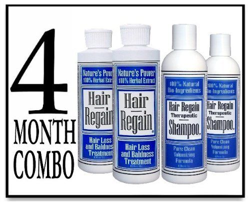 Hair Regain Hair Loss Treatment & Cleansing Shampoo - No Sulfates - 4 Month Combo by Hair Regain Natural Hair Loss System. $68.95. Spray-cap makes reaching the scalp quick and easy.. Non-oily, no scent, no sulfates.. DHT Blockers work to stop hair loss at the cause, and reverse it's ill effects.. Hair Regain is all natural, with no animal ingredients and is made in the U.S.A.. Saw Palmetto and Nettles are the main ingredients in Nutrifolica; both are important for hair loss prev...
