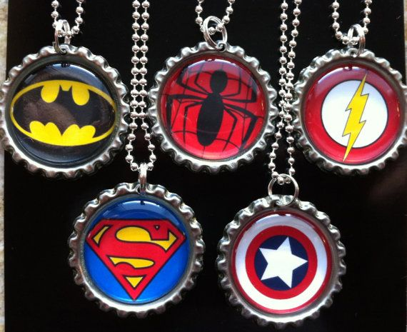 Super Hero Bottle Cap Necklaces by RockinBottleCaps on Etsy