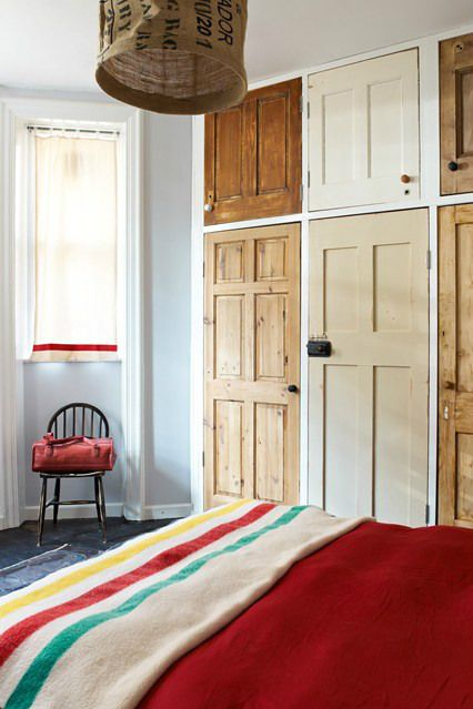 Quirky way of reusing old doors - strip back or paint, your fitted wardrobes are now unique! Lovely look for a vintage bedroom.