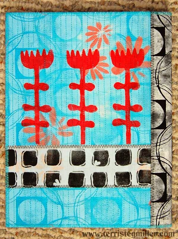 Stencils and fabric from StencilGirl and Terri Stegmiller.