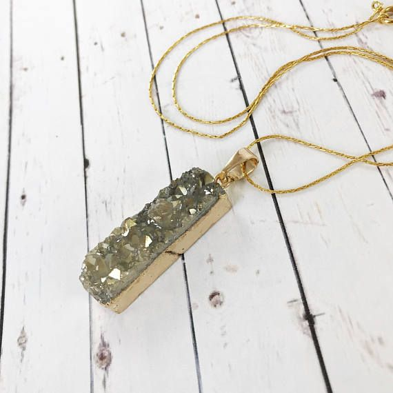 Sparkly Druzy Pendant Necklace // Boho Style Geode and Gold // Gifts for Her  #druzy #necklace