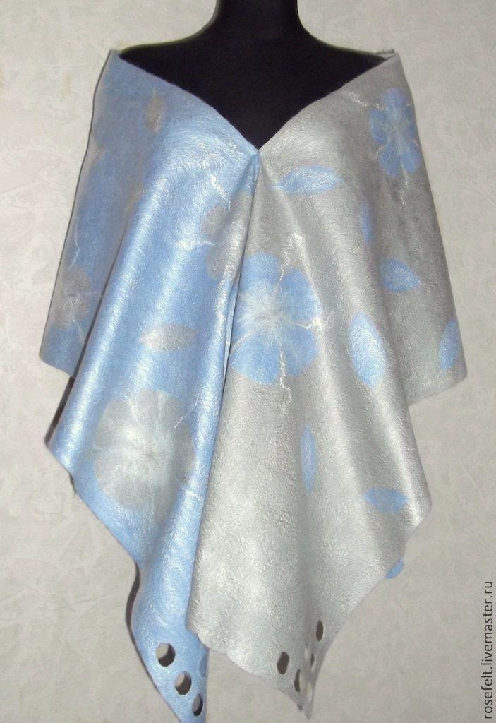 Купить Шарф валяный Зимние цветы - валяние из шерсти, войлок ручной работы, шарф женский