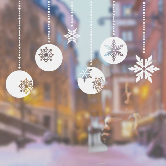 Christmas Balls And Snowflakes Window Decals Window by wallineed