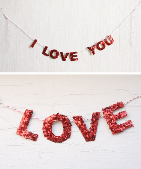 ⓌValentine'S Day, Crafts Ideas, Glitter Garlands, Valentine Day, Wood Letters, Holiday Garlands, Letters Covers, Glitter Letters, Banners