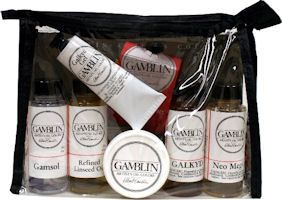 Gamblin Mediums Set- This set is an ideal introduction and includes 60ml containers of Galkyd, Gamsol, Neo Meglip, Refined Linseed Oil, Cold Wax and a 37 ml tube of G-Gel along with the Gamblin Guide To Oil Painting Mediums.