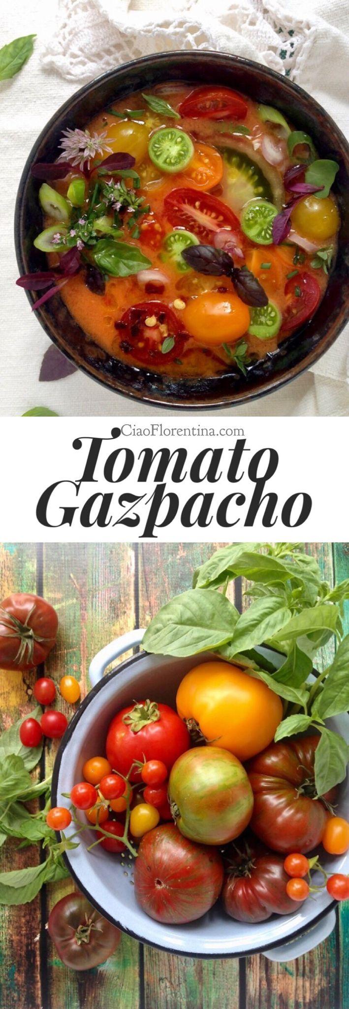 Heirloom Tomato Gazpacho Soup Recipe with Cucumber, Basil and Scallions | CiaoFlorentina.com @CiaoFlorentina