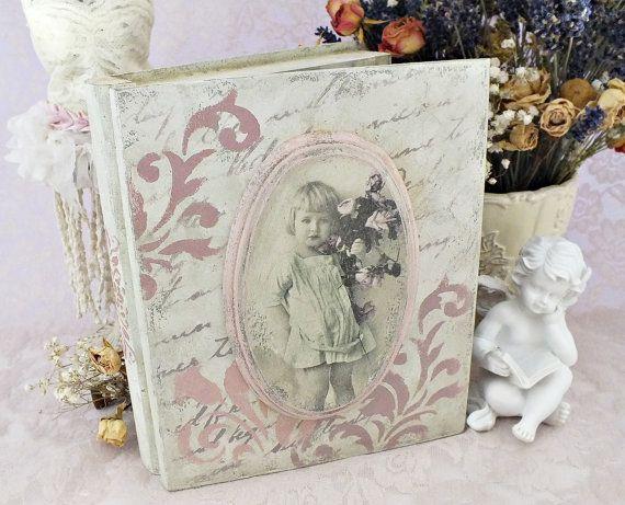 Wooden book box Jewelry storage box Shabby by VintageLullabyDesign