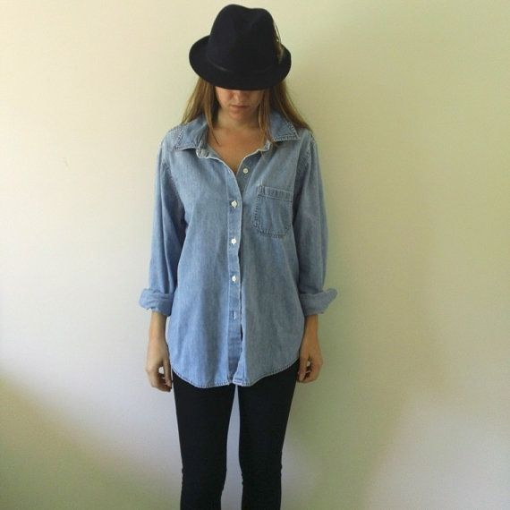 Very Saturday!    Ladies DENIM SHIRT  //  Womens Button Up Jean Shirt by JacknBoots, $38.00