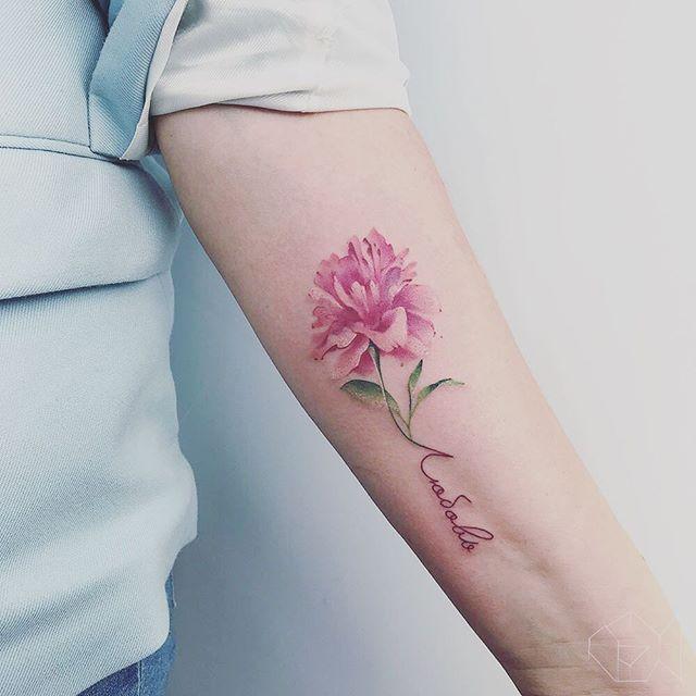 Peony Watercolor Flower Tattoos: #любовь #love #peony #peonytattoo