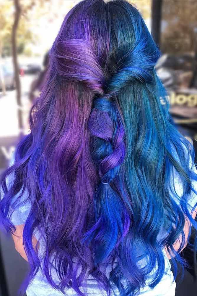 24 Blue And Purple Hair Looks That Will Amaze You Purple Hair Split Dyed Hair Long Hair Styles