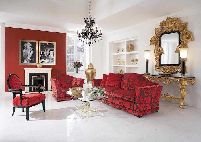 1001 Conseils Et Idees Quelle Couleur Va Avec Le Rouge Deco Salon Decoration Appartement Moderne Idee Deco Salon