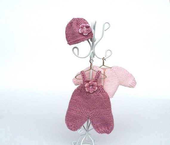 Miniature Pink hand-knitted doll clothing set for 5 by AnnaToys