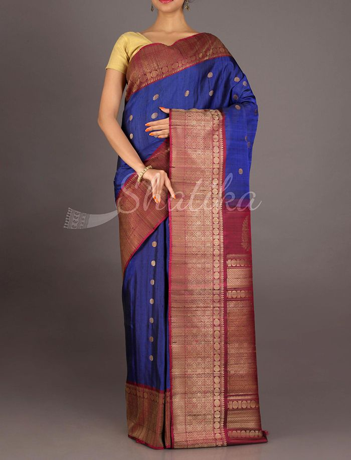 Naira Traditional Bootis Navy Blue And Maroon #JuteSilkSaree