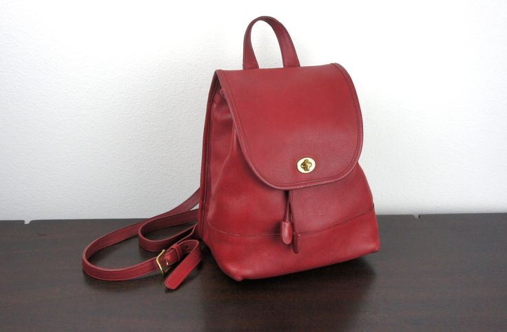 Vintage Coach Large Daypack Backpack, Red Leather, Purse ...