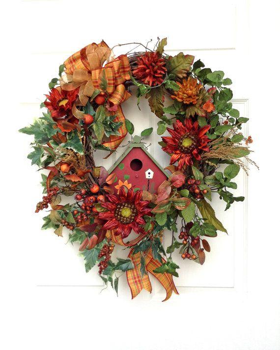 Sunflower Fall Wreath, Fall Wreaths for Door, Fall Decor, Autumn Wreaths, Autumn Decor, Thanksgiving Wreath,Silk Flower,Outdoor Wreaths,Etsy on Etsy, $145.00