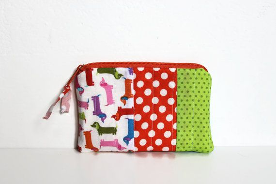 Patchwork Pouch Dachshund & Dots padded Cosmetic by Sunchildsews