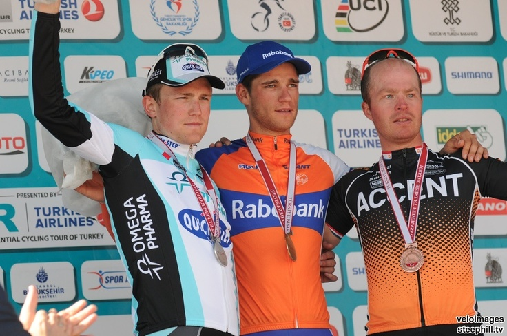 Your stage 8 podium: 2nd Andrew Fenn (Omega Pharma-Quickstep), 1st Theo Bos (Rabobank) and 3rd Stefan Van Dijk (Accent Jobs - Willems Veranda)