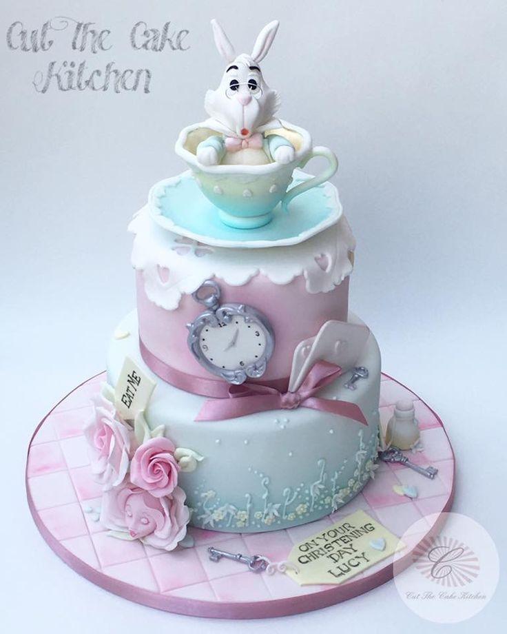 Alice in Wonderland Pastel Christening Cake