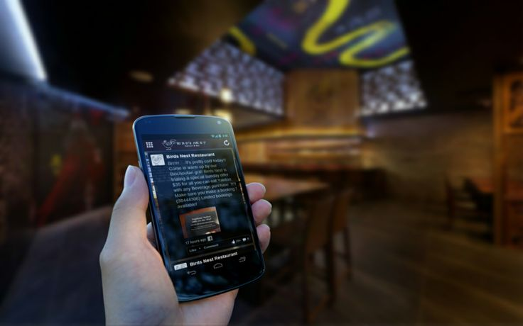 Birds Nest Restaurant Mobile App - Facebook integration.  Let your customer spread the word on your app using social media integration feature.  They can share on Facebook your special offers and loyalty program.  Soon you know it, you will be getting new clients.