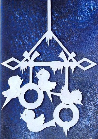 ПТИЦЫ - Снегири  - УКРАШЕНИЯ-подвески из бумаги на окна, для комнаты, класса, зала к Рождеству, Новому году